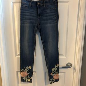 Jordache skinny jeans with floral embroidery